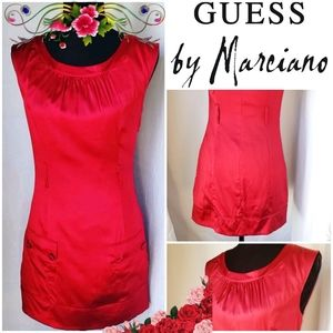 Guess Red Dress by Marciano Silky Mid Mini Pockets